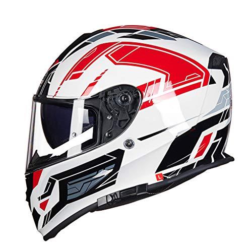 Casque casque de moto casque double lentille anti-buée locomotive casque (Couleur : B-XXL(60-62cm))