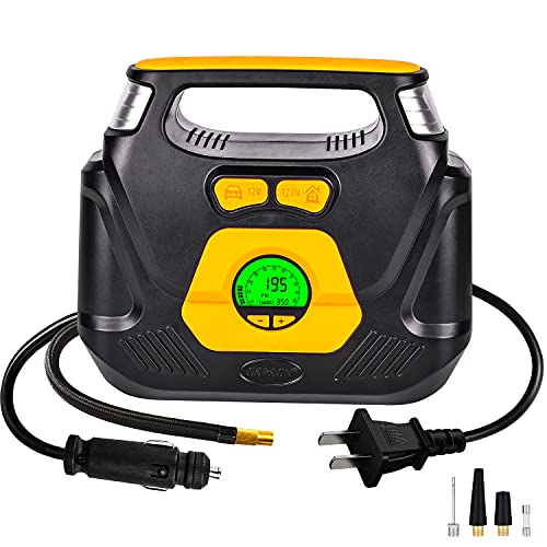 GSPSCN AC/DC Digital Tire Inflator,Portable Air Compressor Pump with Auto Shut-Off Digital Gauge for Car 12V DC and Home 110V AC,Electric Tire Pump for Auto,SUV,Motorcycle,Basketball etc.