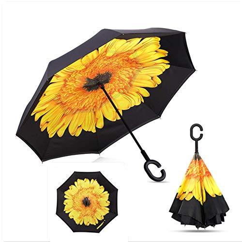 Paraguas de Lluvia inverso al Aire Libre para Mujeres, Doble Capa Plegable para Hombres, Paraguas de Mujer con Soporte automático, Paraguas invertidos a Prueba de Viento