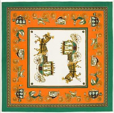 NRWYYD Luxe merk 100% zijde vierkante sjaals wagen print hijab paard halsdoek vrouwelijke bandana zijde foulard 130 * 130cm???groen