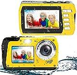 Unterwasserkamera Full HD 4K 56MP Unterwasser Kamera zum Schnorcheln wasserdichte Digitalkamera mit Zwei Bildschirmen Selbstauslöser und 18X Digitalzoom (Gelb)