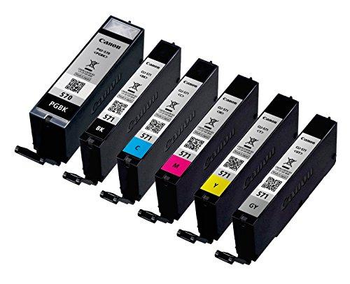 6x Original Canon Tintenpatrone PGI570 CLI571 für Canon Pixma MG 7750 - BK, PBK, Cy, Ma, Ye, GY - Füllmenge: BK ca. 15ml / Farben ca. 7ml