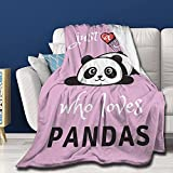 Yaoola Just A Girl Who Loves Pandas Flannel Blanket Weighted Blanket Soft Cozy for Kids Adults Throw Blanket Fit Couch Sofa Suitable for All Season 60'X50' for Teenagers