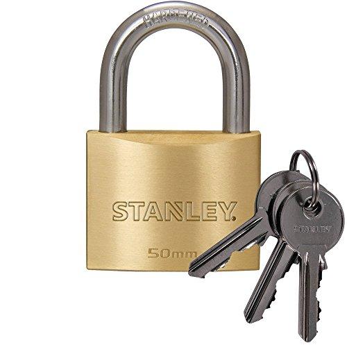 STANLEY Solid Brass Vorhangschloss 50 mm mit Standard-Bügel, 3 Schlüssel, S742-032, Schloss, Bügelschloss