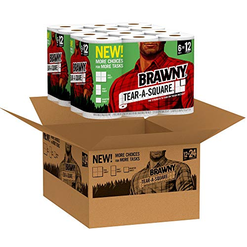 Brawny Tear-A-Square Paper Towels, 12 = 24 Regular Rolls, 3 Sheet Size Options, Quarter Size Sheets, 12 Count, 12 Count (Pack of 1)