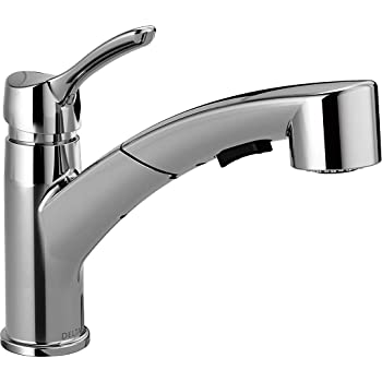 Delta Faucet Signature Single Handle Kitchen Sink Faucet With Pull Out Sprayer Chrome 470 Dst Touch On Kitchen Sink Faucets Amazon Com