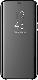 Case for Galaxy S7 Edge Mirror Case, Cover Luxury Electroplate Flip Clear View Mirror Protective Hard Cover S-View flip Cover Kickstand Back Shell (Black)