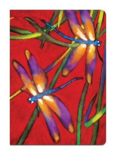 """Deux Libuelles Dragonflies Red Journal Notebook (5.5 x 7.5"""") 160 Lined Pages to Write In, Dragonfly Theme Writing Gift 72017 Tree-Free Greetings"""