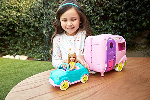 Barbie FXG90 Club Chelsea Playset with Doll, Puppy, Car, Transforming Camper and Accessories