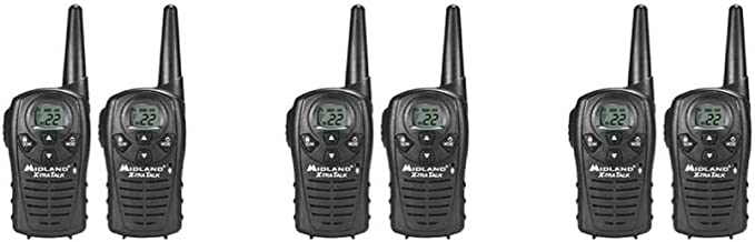 Midland LXT118 Two-Way Radio FRS GMRS 22 Channel Walkie Talkie 6 PACK