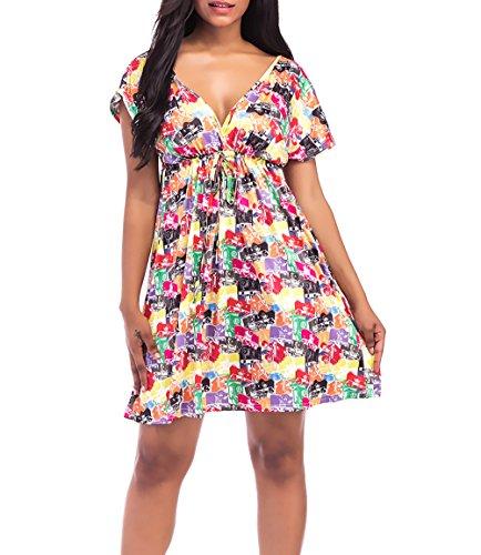 Vestidos Verano Mujer Elegantes Cortos Vestidos Boho Vintage Imprimir Hippies Vestidos Playa Manga Corta Fiesta Dresses Señoras V Cuello Vestidos Años 50 A-Lìnea (Color : Printing3  Size : M)