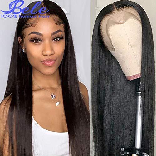Bele 10A pré plumé péruvien 360 Raide Cheveux en dentelle frontale Perruques 130% Densité vierges Ondulé Cheveux humains avec des cheveux de bébé 22 pouces
