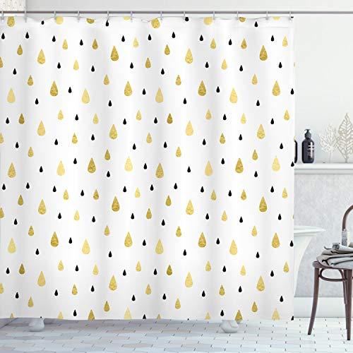 ABAKUHAUS Herbst Duschvorhang, Regentropfen Glimmer Artsy, Klare Farben aus Stoff inkl.12 Haken Farbfest Schimmel & Wasser Resistent, 175 x 200 cm, Senf Schwarz-weiß