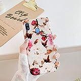 Uposao Kompatibel mit Huawei P30 Lite Hülle Silikon Ultra Dünn Handyhülle 3D Blumen Blätter Bunt Muster Weich TPU Schutzhülle Etui Kratzfest TPU Bumper Handytasche Case Cover,Rose Blumen