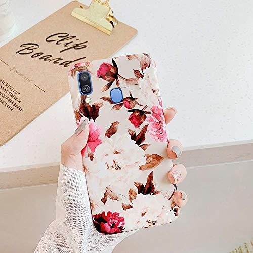 Uposao Fleur Feuilles Coque pour Samsung Galaxy A40 Matte Coque en Silicone TPU Cover,Galaxy A40 Jolie Fleur Housse Téléphone Etui Ultra Mince Souple Gel Bumper Case pour Galaxy A40,F