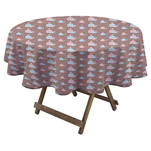 Zara Henry Whale Family Dinner Round Tablecloth Geometric Triangle Background with Funny Whale Family Mother and Children Microfiber Tablecloth D 60' Rose Blue Dried Rose