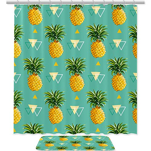 engshizilvbaihuo Bath Curtain Set Non-Slip Rugs, Bath Mat,Durable Waterproof Shower Curtain with Hooks,Home Decorations Cute Fruit P-ineapple Green