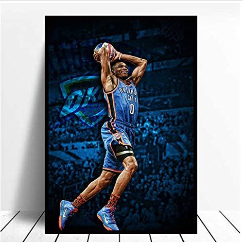 Póster de la NBA Houston Russell Westbrook impresión de la pared de la habitación del hogar lienzo pintura decorativa -50x70cmx1pcs -sin marco