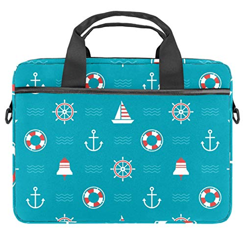 Laptop Bag Nautical Anchor Lifebuoy Compass Blue Notebook Sleeve with Handle 13.4-14.5 inches Carrying Shoulder Bag Briefcase