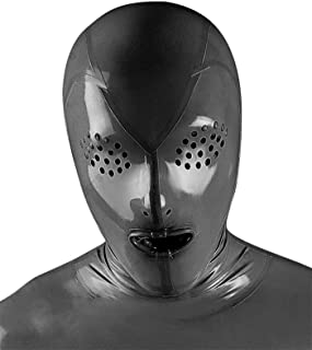 Latex Catsuits Rubber Heavy Mouth Sheath Hoods Masks Fly Eyes Cool Player 0.4MM