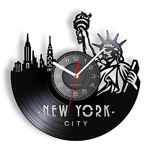 mbbvv Reloj de Pared con Disco de Vinilo Reloj de Pared Famoso de la Ciudad de Nueva York Vista de la Ciudad Arte del Horizonte Decoración de la Sala de Estar Reloj Recuerdos de Viaje