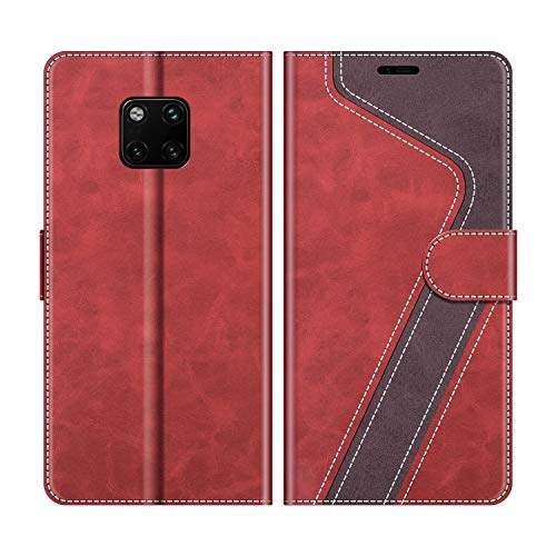 MOBESV Handyhülle für Huawei Mate 20 Pro Hülle Leder, Huawei Mate20 Pro Klapphülle Handytasche Hülle für Huawei Mate 20 Pro/Huawei Mate20 Pro Handy Hüllen, Modisch Rot