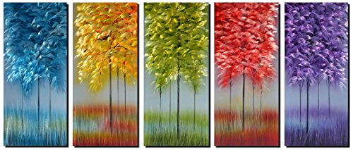 """Handmade Metal Wall Art with Bog Life Multi-Colored Tree, 3D Abstract Design Artwork for Modern and Contemporary Decor, Indoor Outdoor Wall Decorations, 5-Panels Metal Art Measure 24""""x 64"""""""