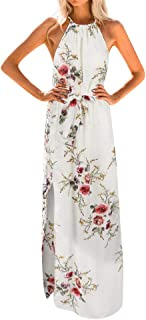 Realdo Women Boho Floral Print Halter Loose Sleeveless Chiffon Corset Maxi Dress