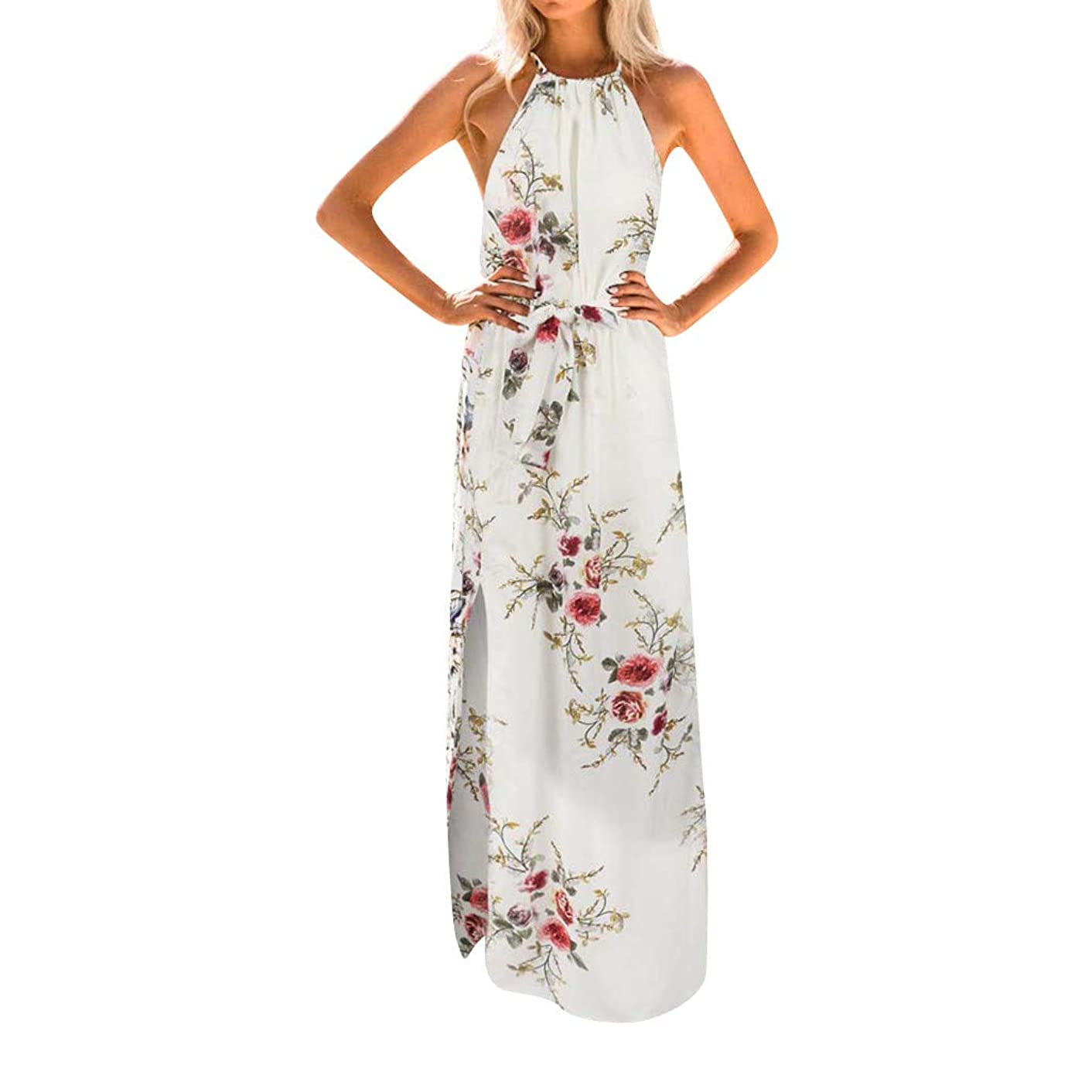 Realdo Women Boho Floral Print Halter Loose Sleeveless Chiffon Corset Maxi Dress