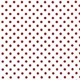 Stoff, metallisch, gepunktet, Rot auf Weiß, RJR02 – 0,5