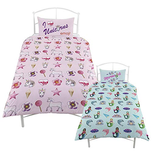 I LOVE FANCY DRESS LTD EMOJI MERMAID SINGLE DUVET REVERSIBLE TO UNICORN EMOJI SINGLE DUVET BED SET INCLUDING PILLOWCASE OFFICIAL LICENSED