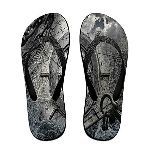 Schmale Unisex-Sandale mit Flip-Flop,Schiffsrad-Retro-Navigationsgeräte-Illus,Yoga Mat Flip Flops Bequemer Strand Lederriemen mit leichter EVA Sohle Größe S