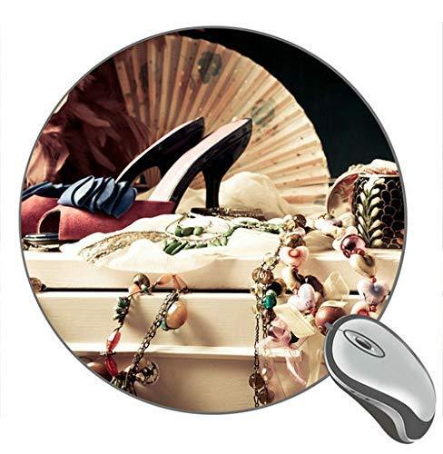 Not Applicable Joyería Zapatos Collares Pulseras Suministros de Vestimenta Femenina Alfombrilla de ratón de Escritorio Redonda Alfombrilla de ratón de Goma para Juegos