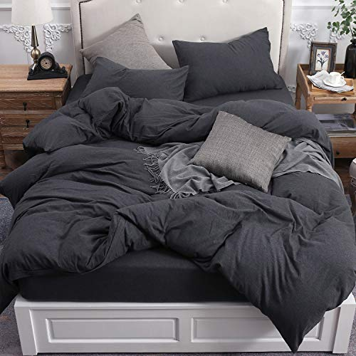 PURE ERA Duvet Cover Set 100% Cotton Jersey Knit Bedding, Super Soft Comfy, Heathered Charcoal Grey Queen, with Zipper Closure (3pc Set, 1 Comforter Cover + 2 Pillow Shams)