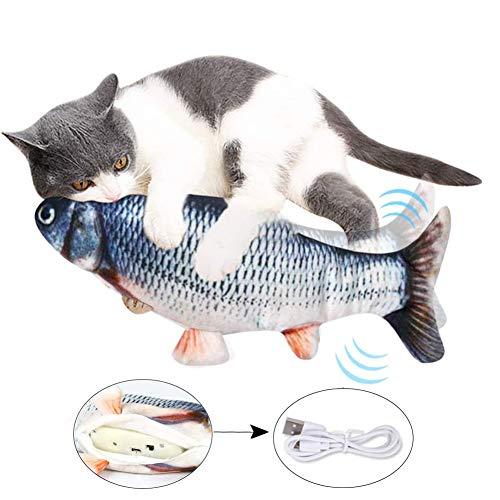 Suprcrne Elektrische Fische Katze, USB Plüsch Fisch Katzenspielzeug Interaktive Realistische Simulation Wagging lustige Fischspielzeug Zahnreinigungsspielzeug
