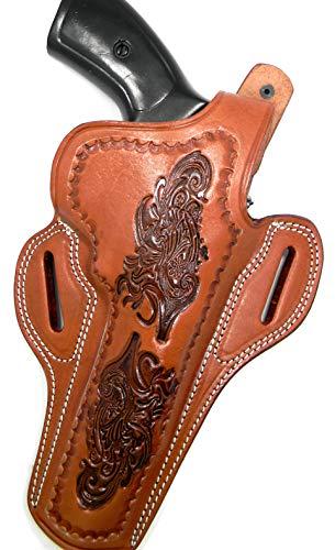 HOLSTERMART USA Right Hand Tooled Brown Leather Thumb Break Belt Holster for S&W N-Frames, Ruger GP100, DAN Wesson Taurus.357/44, COLT Python Anaconda, 6' Barrels