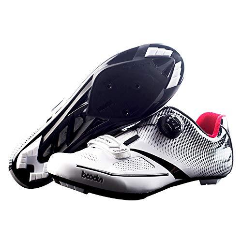 SIDEBIKE Zapatillas de ciclismo sintéticas S01 MTB o carretera para adulto, (A2-carretera-blanco), 46 EU