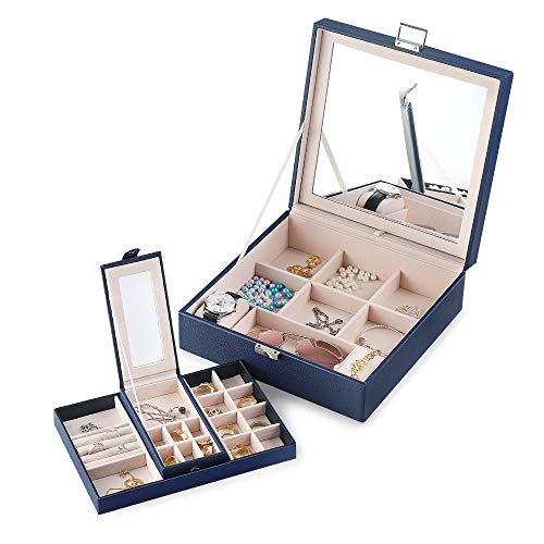 Frebeauty Jewelry Box with Portable Travel Jewelry Case 2 Layer Jewelry Display Organizer with Large Movable Mirror Versatile Storage Case for Jewelry Rings Watches Sunglasses (Blue)