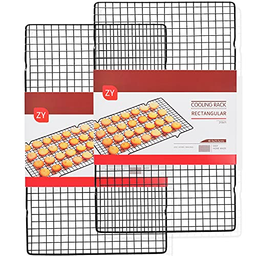 """2-Pack Cooling Racks for Baking, 16""""x10"""" Carbon Steel Wire Cooling Rack Fits Half Sheet Pan Cooling and Oven Baking Rack"""
