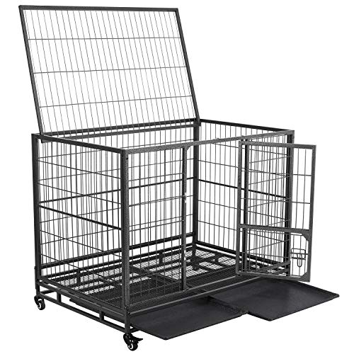 YAHEETECH 43-inch Heavy Duty Metal Dog Cage Crate Collapsible Open Top Pet Kennel w/Double Doors & Prevent Escape Locks/Lockable Wheels/Double Tray Indoor Outdoor Black