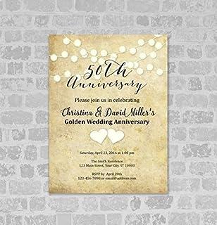 50th Wedding Anniversary Invitation, String of Lights 50th Anniversary Invites