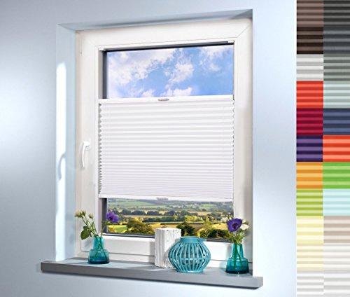 Sun World Plissee nach Maß, deutsche Wertarbeit, hochqualitative Wertarbeit, für Fenster und Türen, alle Größen, Maßanfertigung, Jalousie, Faltrollo (Farbe: Weiß, Höhe: 91-100cm, Breite: 111-120cm)