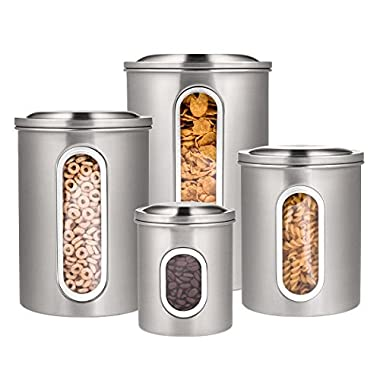 Deppon Canisters Set 4 Pieces Large Capacity Stainless Steel Container Airtight Storage Cans for Kitchen