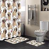 SHUOFUSH Mops Cute Heart Dog Cartoon Print Duschvorhang Wasserdichter Badezimmervorhang Toilettenbezug Matte rutschfeste Teppich Set Badewanne Dekor