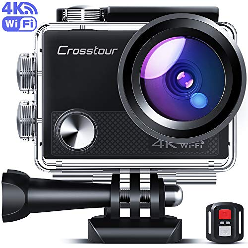 Crosstour Upgraded 4K 20MP Action Camera Cycling with WiFi LDC Remote Control Sports Camera 40M Waterproof Underwater Camcorder with Accessories Kit