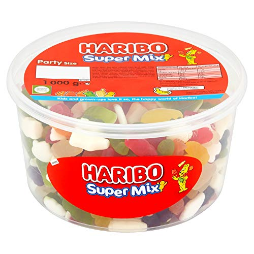 Original Haribo Supermix Party Size Tub A Delicious Mix Of Fun Haribo Shapes Includes Little Jelly Men Milk Bottles Imported From The UK British Gummy Candy