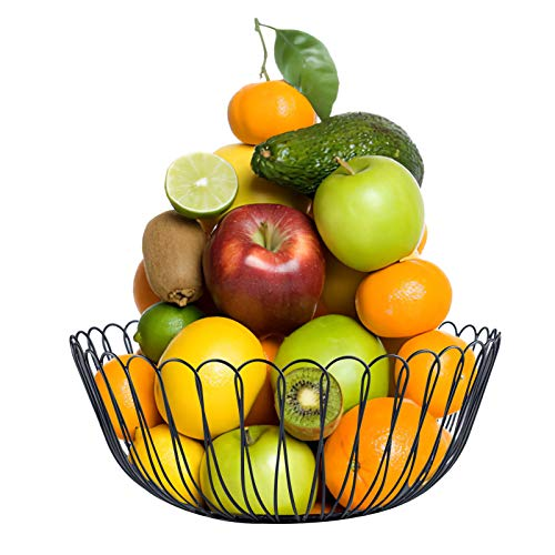 Fasmov Metal Wire Countertop Fruit Storage Basket Stand Holder for Kitchen Bread Vegetables and Household Items