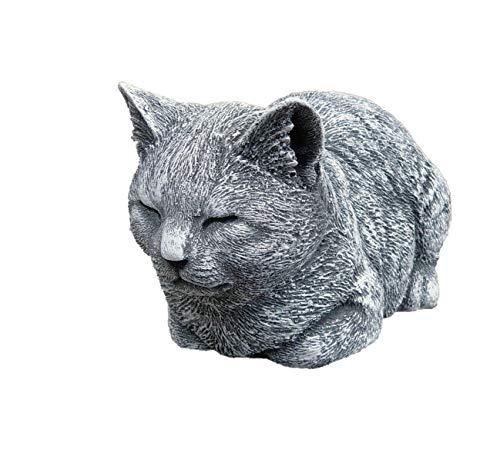stoneandstyle Steinfigur Katze ruhend, massiver Steinguss, Frost- und wetterfest bis -30°C
