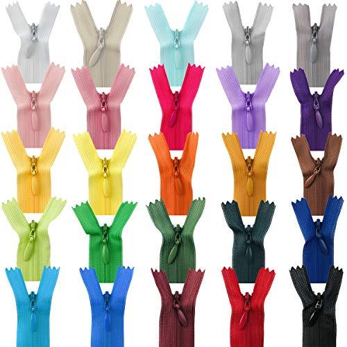 50 Stuks 8 inch Ritssluiting, Nylon Ritsen 25 Kleuren, Kleurrijke Nylon Ritssluitingen voor Ambachtelijk Naaien…