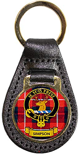 I Luv LTD Key Fob de cuero Cresta escocesa del clan escocés Simpson Hecho